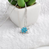 Vintage lady Blue Crystal Snowflake Zircon Flower Silver Necklaces & Pendants - ISaleuk