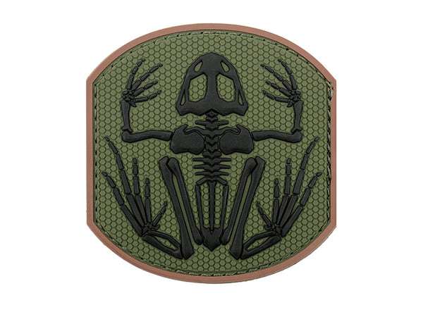 Frog Skeleton PvC Patch Green