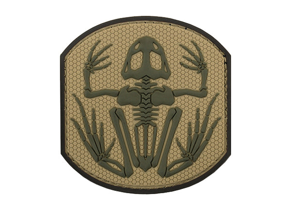 Frog Skeleton PvC Patch Tan
