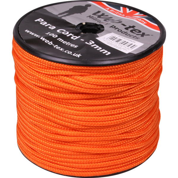 Web-Tex Para Cord - 3mm 100 metres Orange