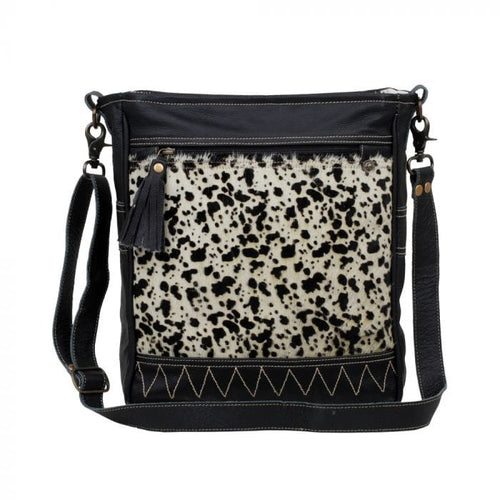 Myra Naive Leather & Hairon Shoulder Bag - Paint Chips & Glitter