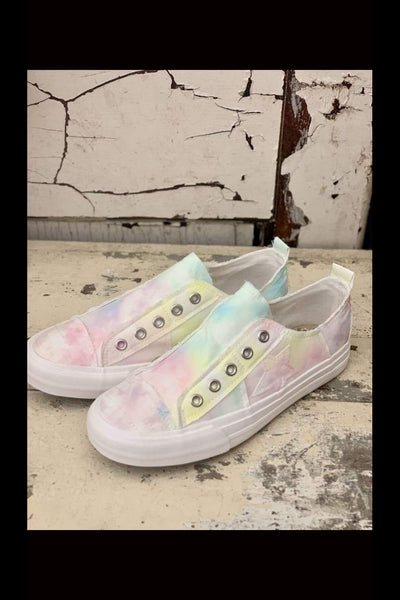 PLAY ALONG Tie Dye Slip-On Canvas Sneakers - Paint Chips and Glitter