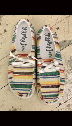 SHILAH Striped Slip-On Canvas Sneakers - Paint Chips and Glitter