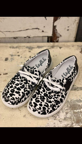 STAR STRUCK Leopard Canvas Slip-On Sneakers - Paint Chips and Glitter