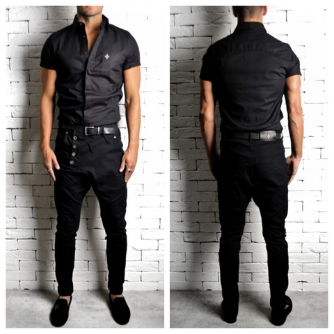 Alex Christopher Side Button Skinny Drop Crotch Jeans | ETTO Boutique
