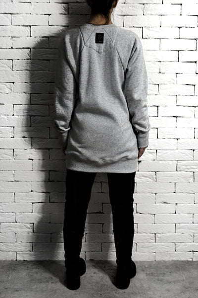 Mesh Face Raglan Sleeve Sweatshirt - Grey