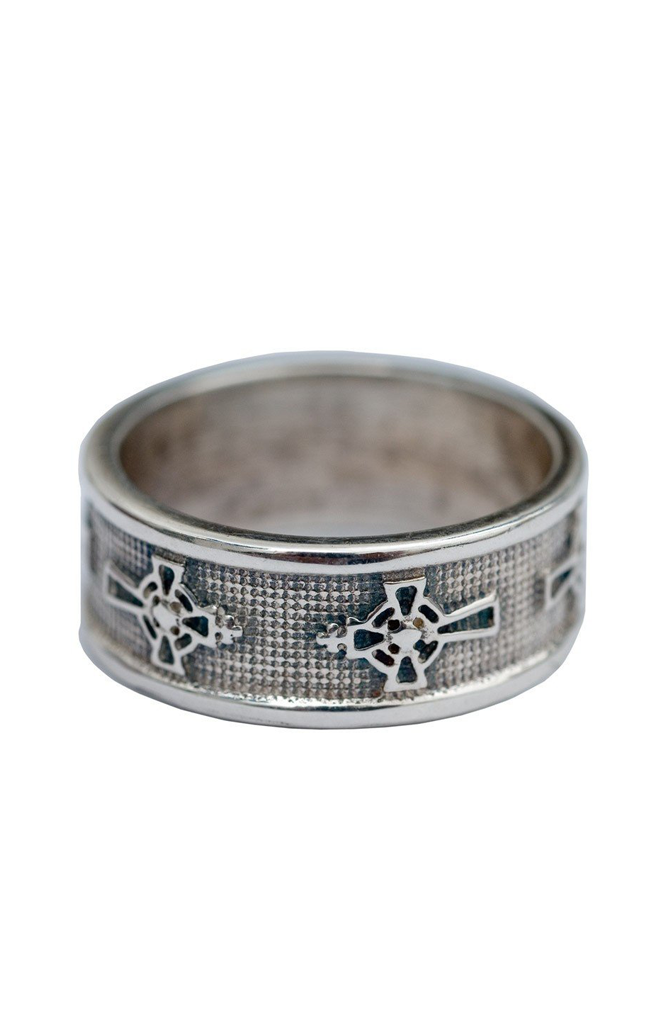AC Solid Silver Logo Ring