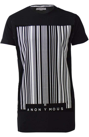 Black Barcode Print Long T-Shirt | Longline T-Shirts | ETTO Boutique