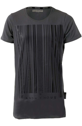 Grey Barcode Print Long T-Shirt | Longline T-Shirts | ETTO Boutique