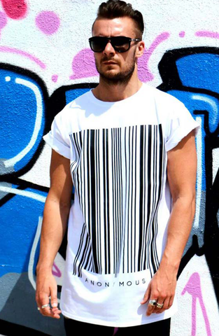 ANONYMOUS Barcode Long T-Shirt - White