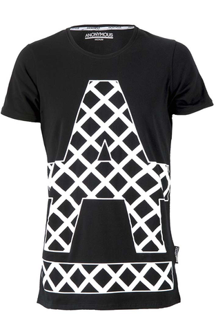ANONYMOUS Cross Hatch T-Shirt - Black