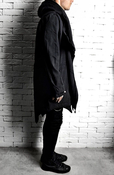 Asymmetric Hooded Trench Coat - Washed Black
