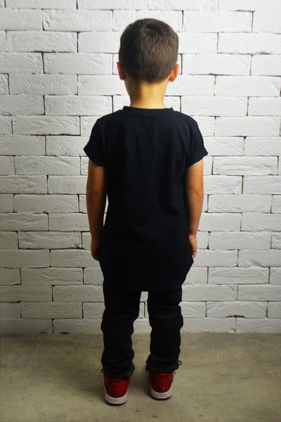 Kids Square Neck T-Shirt - Black