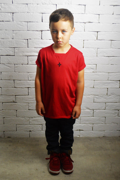 Kids Square Neck T-Shirt - Red