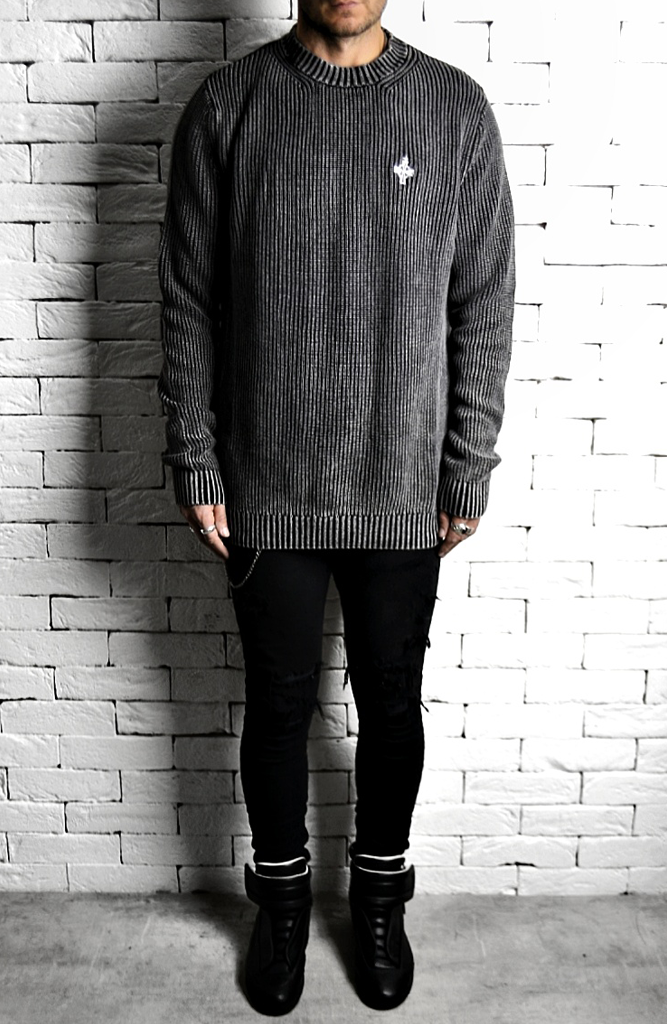 Alex Christopher Washed Charcoal Ribbed Jumper | Mens Jumpers | ETTO Boutique