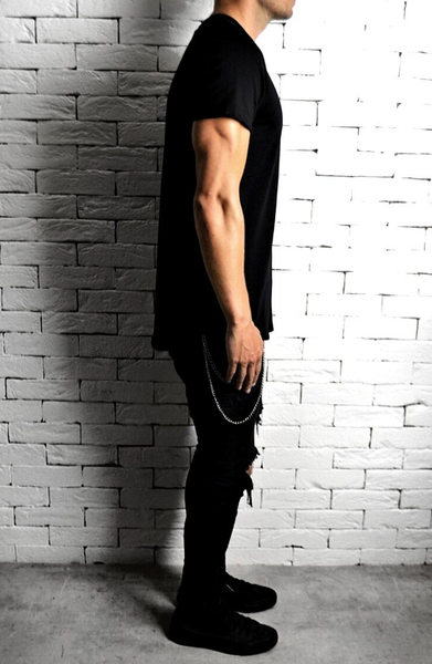 Alex Christopher Black Curve Hem T-Shirt | Mens Longline T-Shirts | ETTO Boutique