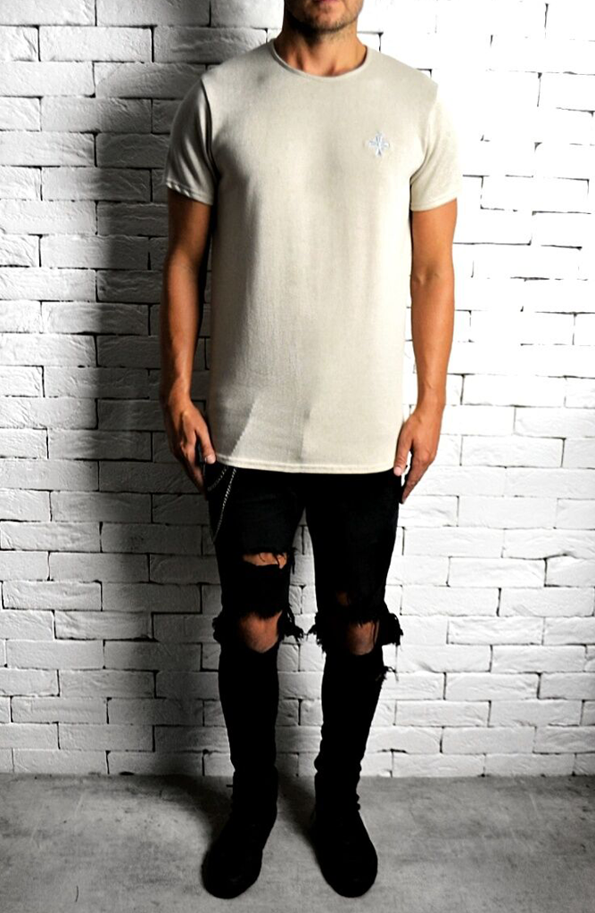 Cream Curve Hem T-Shirt | Mens T-Shirts | ETTO Boutique