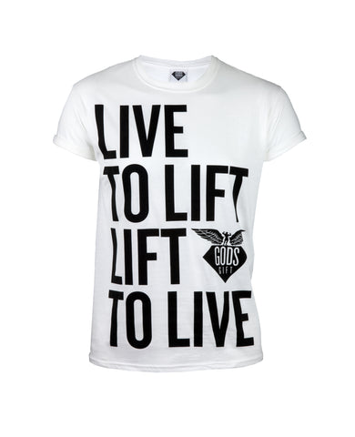 Gods Gift Live To Lift T-Shirt - White
