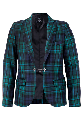 Tailored Suit Chain Jacket - Green Tartan