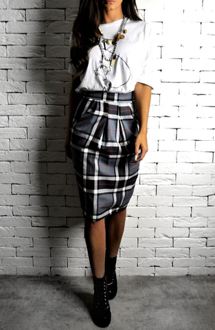 Alex Christopher Grey Tartan Hudson Midi Skirt | Tartan Skirts | ETTO Boutique