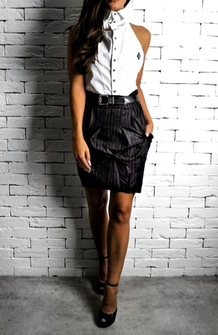 Brown Pinstripe Hudson Skirt | Women's Skirts | ETTO Boutique
