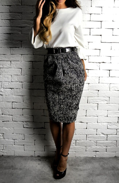 Alex Christopher Grey Flock Hudson Midi Skirt | Midi Skirts | Etto Boutique