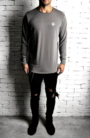 Alex Christopher Taupe Long Sleeve T-Shirt | Mens T-Shirts | ETTO Boutique
