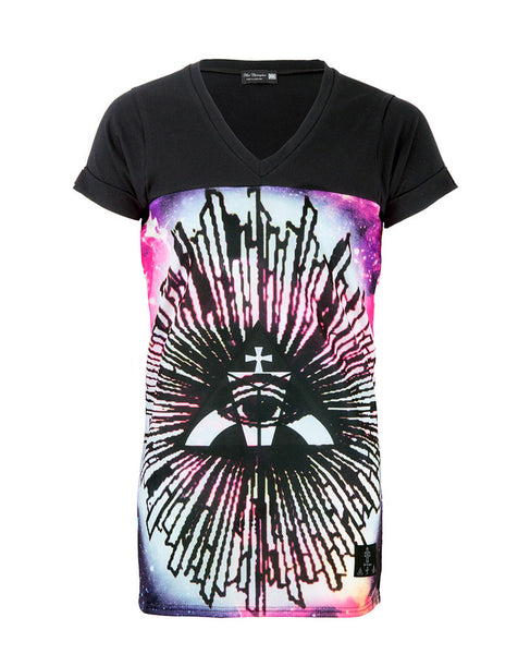 Illuminati Longline V Neck | Mens Longline T-Shirts | ETTO Boutique