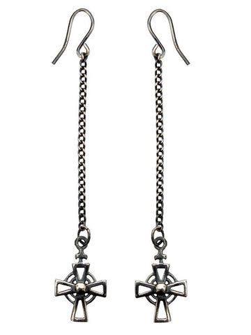 Ac Drop Earrings - Oxidised