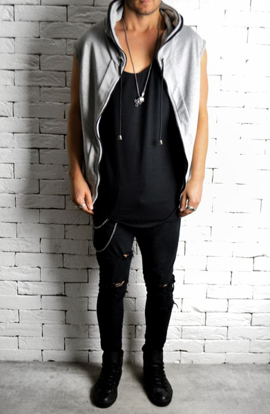Alex Christopher batwing sleeveless hoodie