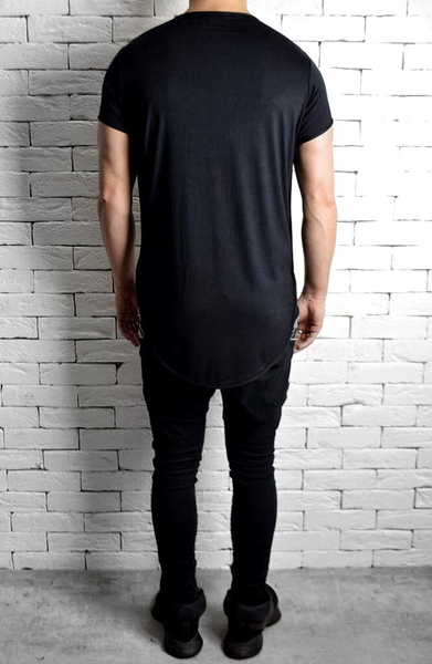 Black Short Sleeve T-Shirt | Mens Longline T-Shirts | ETTO Boutique