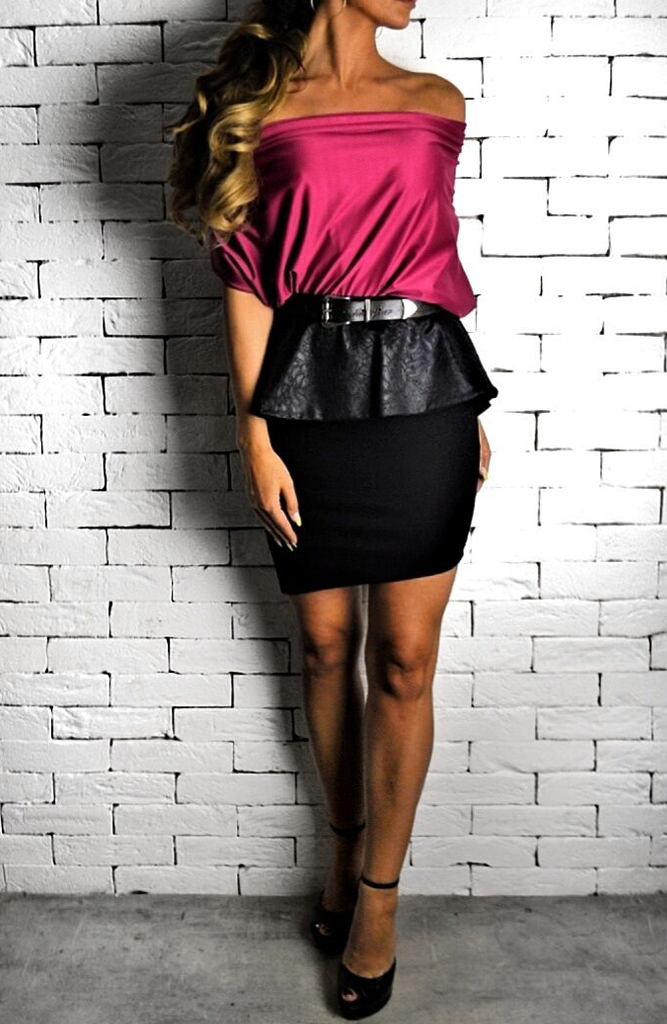 Black Embossed Peplum Skirt | Women's Skirts | ETTO Boutique