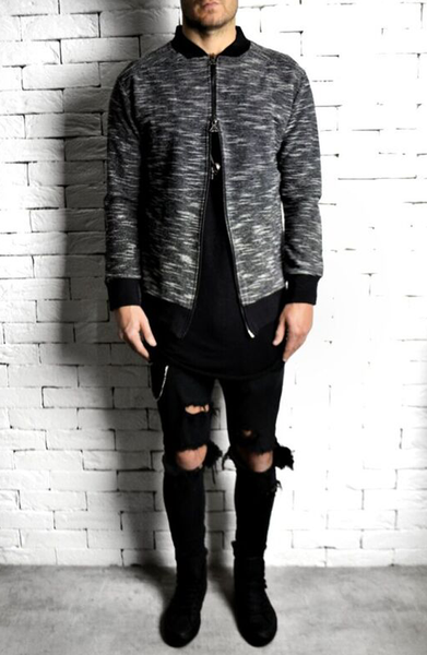 alex christopher black and white woven bomber jacket
