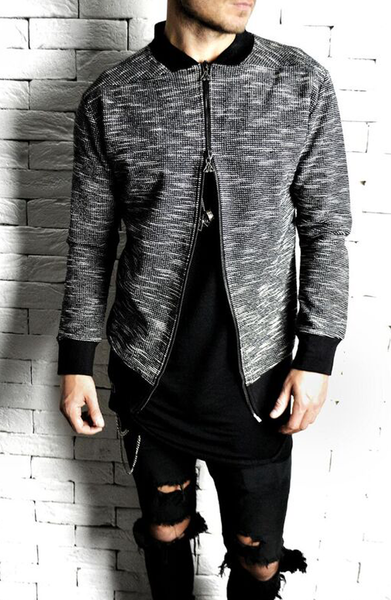 Bomber Jacket - Black/White Woven
