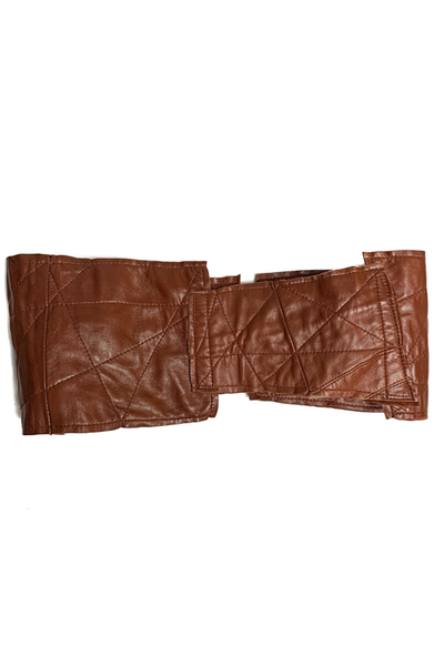 Leather Buckle Corset Belt - Chestnut Brown