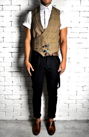 Dogtooth Check Buckle Waistcoat | Mens Waistcoats | ETTO Boutique