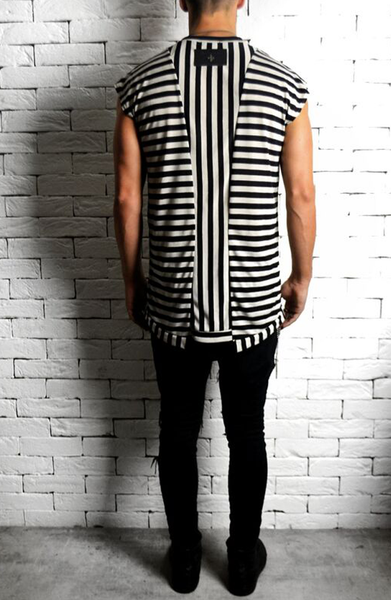 Striped Cap Sleeve T-Shirt | Mens Longline T-Shirts | ETTO Boutique