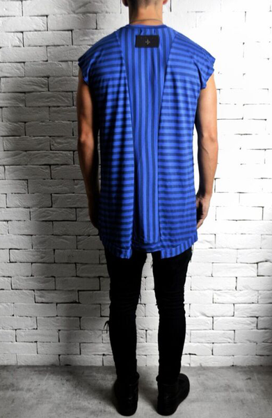 Cap Sleeve T-Shirt - Blue Stripe