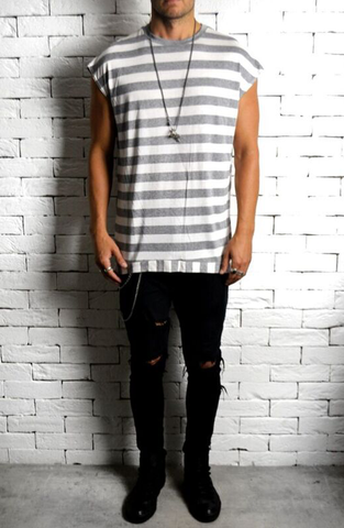 Cap Sleeve T-Shirt - Grey/White Stripe