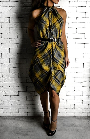 Yellow Tartan Choker Dress | Unique Dresses | ETTO Boutique