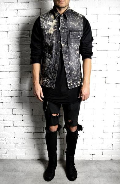 alex christopher bleached denim jacket