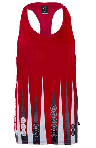 Red Backgammon Printed Ibiza Vest | Men's Vests | ETTO Boutique