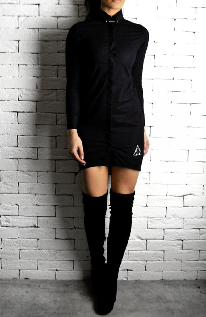 Alex Christopher collar pin shirt dress