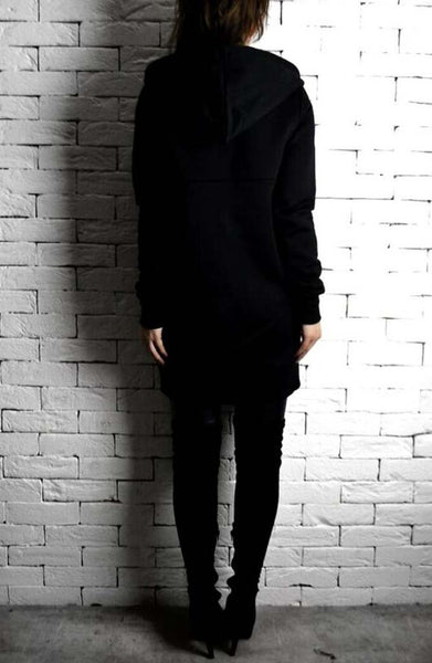 Directional Long Hoodie - Black