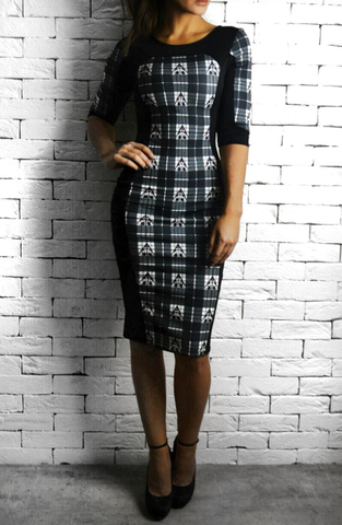 Directional Bodycon Dress - White Tartan