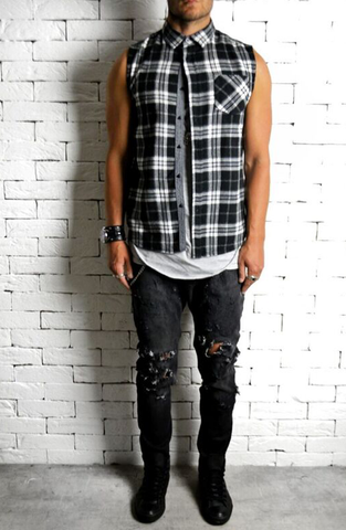 Ripped Skater Skinny Jeans - Black Distressed