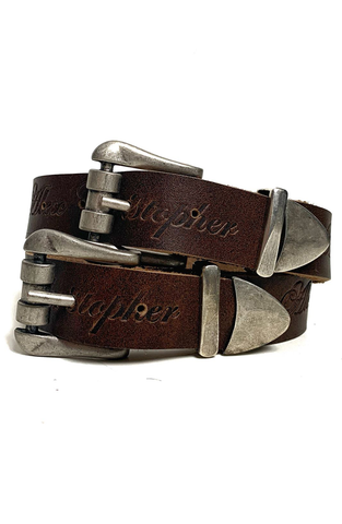 AC Double Buckle Waist Belt - Brown/Silver