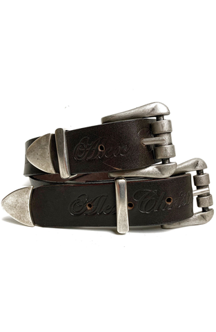 AC Double Buckle Waist Belt - Dark Brown/Silver
