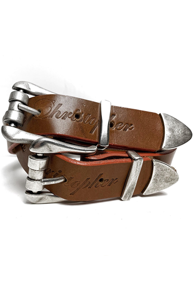 AC Double Buckle Waist Belt - Orange/Brown