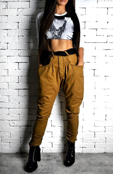 Tan High Waisted Twisted Jeans | Women's Jeans | ETTO Boutique